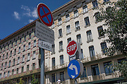 Street traffic sign and traditional architecture in Vienna, Austria, EU.