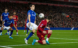 LIVERPOOL, ENGLAND - Sunday, January 5, 2020: Everton's captain Seamus Coleman handles the ball in the penalty area during the FA Cup 3rd Round match between Liverpool FC and Everton FC, the 235th Merseyside Derby, at Anfield. (Pic by David Rawcliffe/Propaganda)