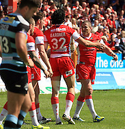 Ade Gardner (32) of Hull Kingston Rovers celebrates his teams 4th try of the game with his team mates during the First Utility Super League match at the KC Lightstream Stadium, Kingston upon Hull<br /> Picture by Richard Gould/Focus Images Ltd +44 7855 403186<br /> 25/05/2014