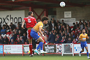 Ben Richards-Everton of Accrington Stanley and Mansfield's Lee Angolduring the EFL Sky Bet League 2 match between Accrington Stanley and Mansfield Town at the Fraser Eagle Stadium, Accrington, England on 19 August 2017. Photo by John Potts.