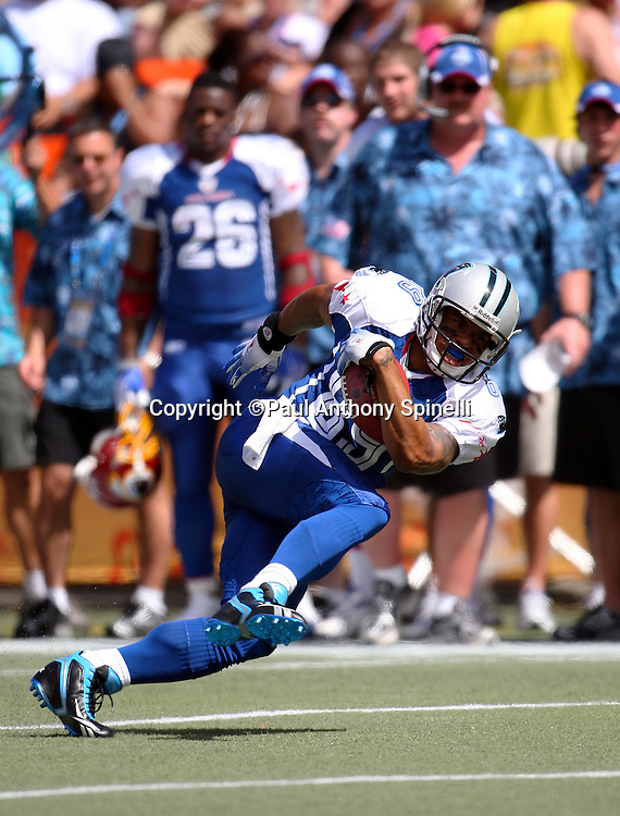HONOLULU, HI - FEBRUARY 08: NFC All-Stars wide receiver Steve Smith #89 of the Carolina Panthers gains some yardage after a catch during the game against the AFC All-Stars in the 2009 NFL Pro Bowl at Aloha Stadium on February 8, 2009 in Honolulu, Hawaii. The NFC defeated the AFC 30-21. ©Paul Anthony Spinelli *** Local Caption *** Steve Smith
