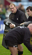 Photo Peter Spurrier<br /> 17/11/2002<br /> Zurich Premiership Rugby - Harlequins v Wasps<br /> Lawrence Dallaglio named as Wasps sub No 19  warming up before the game at The Stoop. [Mandatory Credit:Peter SPURRIER/Intersport Images]