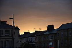Sunset over housing, Great Yarmouth, Norfolk UK