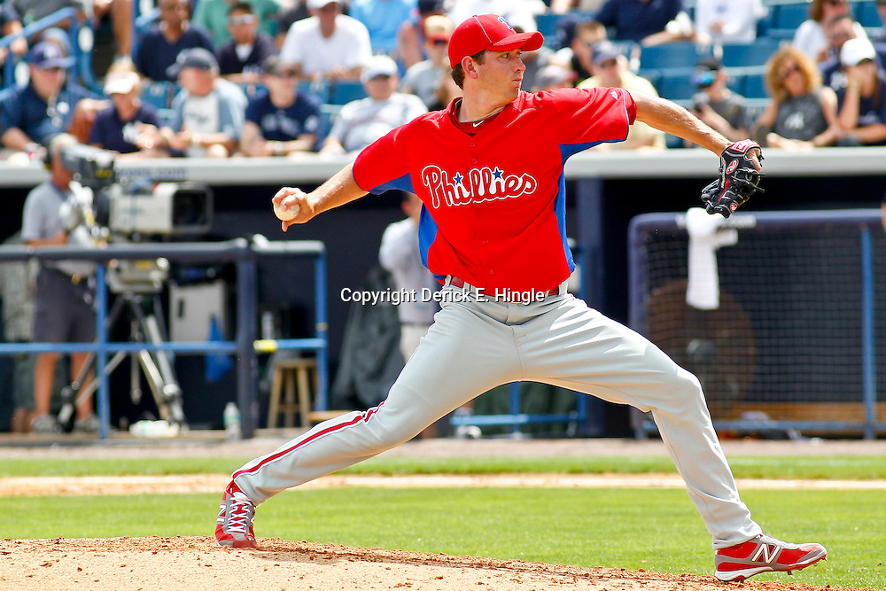 March 11, 2012; Tampa Bay, FL, USA; Philadelphia Phillies starting pitcher Austin Hyatt (78) against the New York Yankees during a spring training game at George M. Steinbrenner Field. Mandatory Credit: Derick E. Hingle-US PRESSWIRE