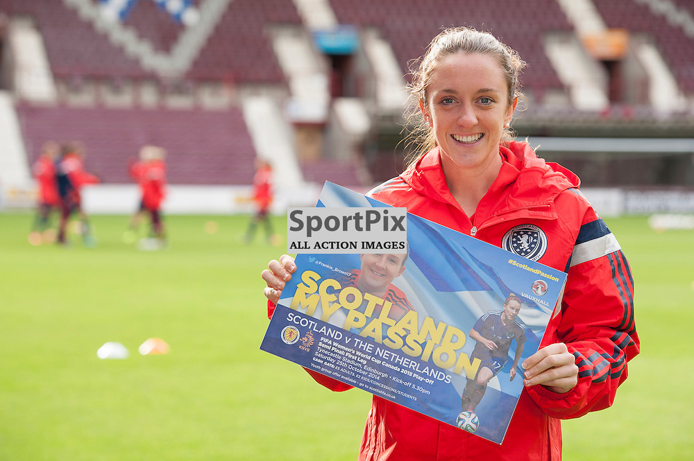 The Scotland Women's Football Team held a training session at Tynecastle Stadium Edinburgh ahead of their FIFA Women's World Cup Canada 2015 Play-off Semi-Final, First Leg against the Netherlands at the same venue on Saturday 25th October 2014, kick-off 5.30 pm. Lisa Evans (FFC Turbine Potsdam) 23rd October 2014 (c) JON DAVEY | SportPix.org.uk