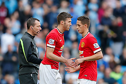 Michael Carrick is substituted on for Adnan Januzaj of Manchester United - Photo mandatory by-line: Rogan Thomson/JMP - 07966 386802 - 02/11/2014 - SPORT - FOOTBALL - Manchester, England - Etihad Stadium - Manchester City v Manchester United - Barclays Premier League.