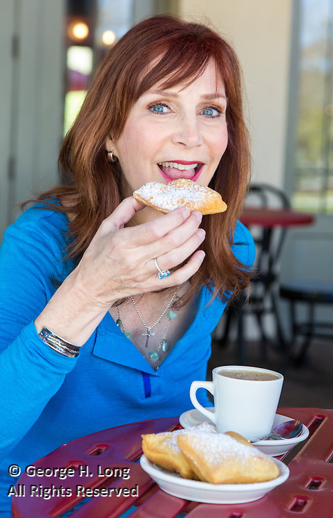 WDSU meteorologist Margaret Orr gets some coffee at Morning Call in New Orleans City Park