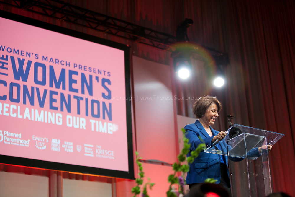 Detroit, Michigan, USA. 27th Oct, 2017. Senator Amy Klobucher speaks during the Women's Convention held at the Cobo Center, Detroit Michigan, Friday, October 27, 2017