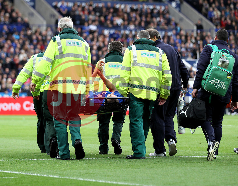 Leicester City's Matthew James is stretchered off - Photo mandatory by-line: Robbie Stephenson/JMP - Mobile: 07966 386802 - 09/05/2015 - SPORT - Football - Leicester - King Power Stadium - Leicester City v Southampton - Barclays Premier League