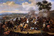 The Battle of the Boyne in Northern Ireland, between James II and William III, 11 June 1690. painting after Jan van Huchtenburg; between 1690 and 1733