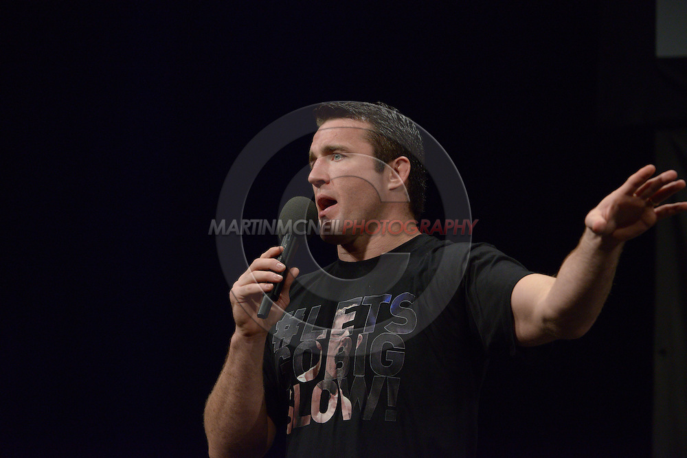 "MANCHESTER, ENGLAND, NOVEMBER 25, 2013: Chael Sonnen answers fan questions during a Q&A session ahead of the official weigh-in for ""UFC Fight Night 30: Machida vs. Munoz"" inside Mancheter Central Convention Center in Manchester, England (Martin McNeil for ESPN)"