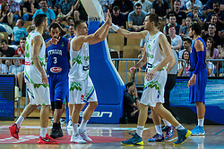Uros Slokar and Klemen Prepelic of Slovenia during friendly basketball match between National teams of Slovenia and Italy at day 3 of Adecco Cup 2015, on August 23 in Koper, Slovenia. Photo by Grega Valancic / Sportida