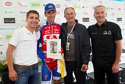 Filip Andrej, winner Radoslav Rogina (CRO) of Adria Mobil, Franc Skerlj and Bogdan Fink during flower ceremony after the Stage 3 from Skofja Loka to Vrsic (170 km) of cycling race 20th Tour de Slovenie 2013,  on June 15, 2013 in Slovenia. (Photo By Vid Ponikvar / Sportida)