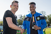 Forest Green Rovers Chairman Dale Vince and Forest Green Rovers Tahvon Campbell(25) during the EFL Sky Bet League 2 match between Forest Green Rovers and Grimsby Town FC at the New Lawn, Forest Green, United Kingdom on 5 May 2018. Picture by Shane Healey.