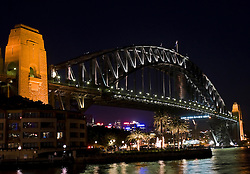 Sydney Harbor Bridge at night, Sydney, New South Wales, Australia