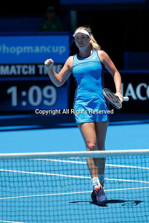 03.01.2017. Perth Arena, Perth, Australia. Mastercard Hopman Cup International Tennis tournament. Coco Vandeweghe (USA) pumps her fist in the air after winning a point during her game against Lara Arruabarrena (ESP). Vandeweghe won 6-2, 6-4.