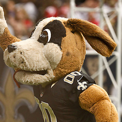 November 25, 2012; New Orleans, LA, USA; New Orleans Saints mascot Gumbo prior to a game against the San Francisco 49ers at the Mercedes-Benz Superdome. The 49ers defeated the Saints 31-21. Mandatory Credit: Derick E. Hingle-US PRESSWIRE