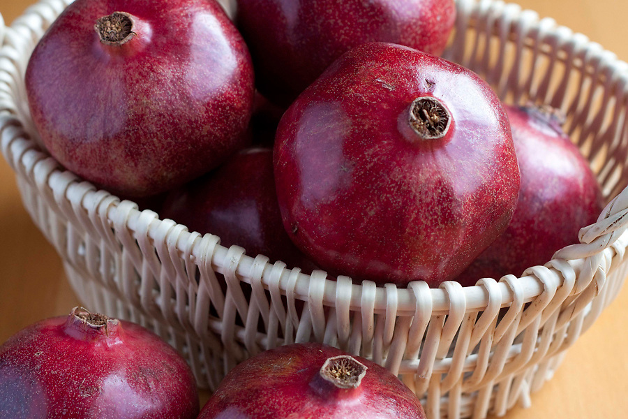 Pomegranates in basket