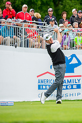 June 22, 2018 - Madison, WI, U.S. - MADISON, WI - JUNE 22: Glen Day tees off on the first tee during the American Family Insurance Championship Champions Tour golf tournament on June 22, 2018 at University Ridge Golf Course in Madison, WI. (Photo by Lawrence Iles/Icon Sportswire) (Credit Image: © Lawrence Iles/Icon SMI via ZUMA Press)