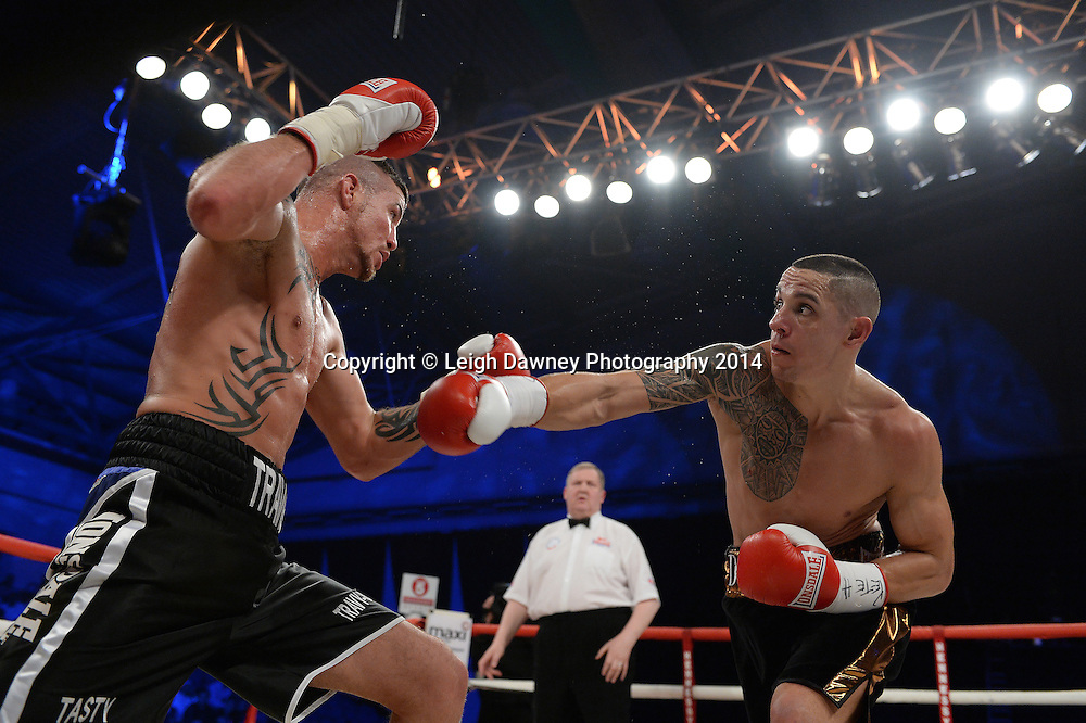 Travis Dickinson defeats Danny McIntosh for the vacant English Light Heavyweight title at Ponds Forge Arena, Sheffield on the 22nd March 2014. Hennessy Sports. © Credit: Leigh Dawney Photography 2014.
