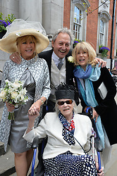 PATTIE BOYD and ROD WESTON with her mother and Diana and sister Jenny photographed at the wedding of Pattie Boyd & Rod Weston  at Chelsea Registry Office, Chelsea Old Town Hall, King's Road, London on 30th April 2015.  Pattie Boyd was previously married to both George Harrison and Eric Clapton.