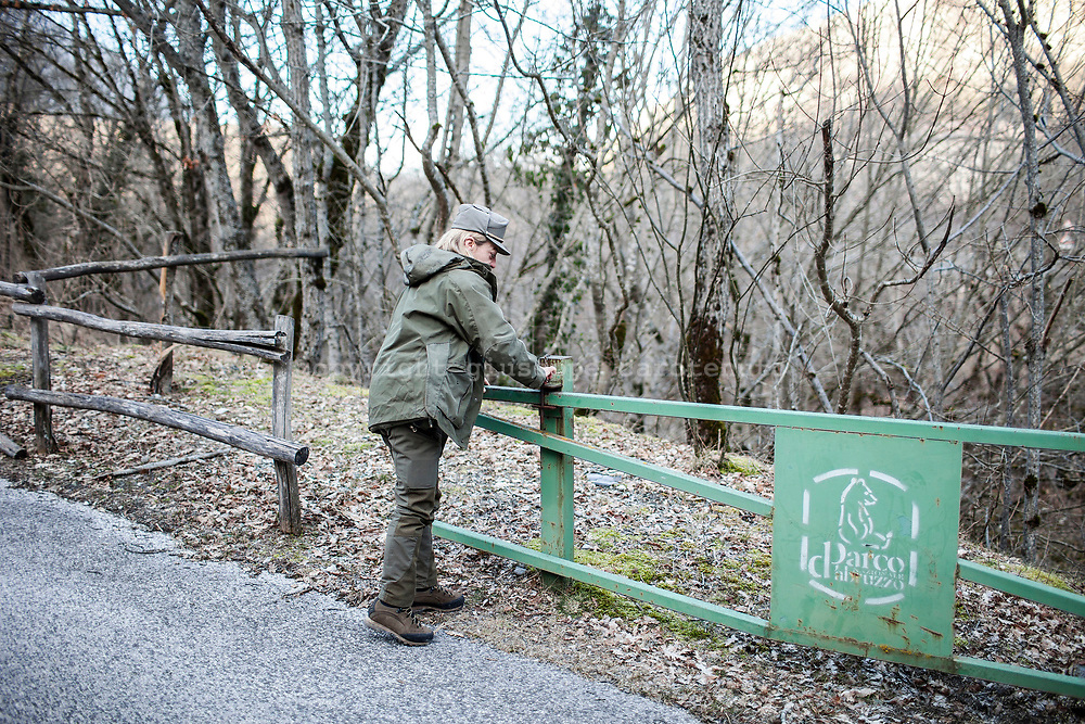17 February 2017, AQ Italy - A guard of the National Park of Abruzzo open the entry of the Natural Reserve Camosciara