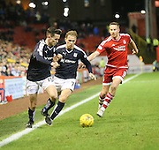 Dundee&rsquo;s Paul McGinn and Greg Stewart combine to go pat Aberdeen&rsquo;s Adam Rooney - Aberdeen v Dundee, Ladbrokes Premiership at Pittodrie<br /> <br />  - &copy; David Young - www.davidyoungphoto.co.uk - email: davidyoungphoto@gmail.com
