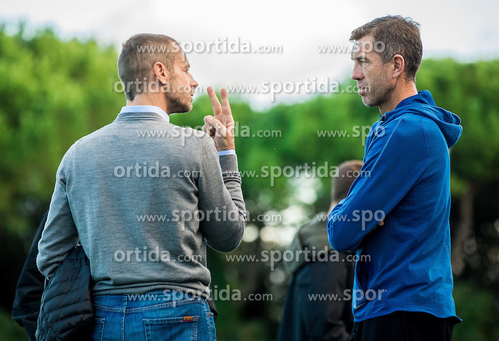 Aleksander Ceferin, president of NZS and Srecko Katanec, head coach of Slovenia during the practice session of Team Slovenia 1 day before EURO 2016 Qualifier Group E match between Slovenia and San Marino, on October 11, 2015 in Riccione, Italy. Photo by Vid Ponikvar / Sportida