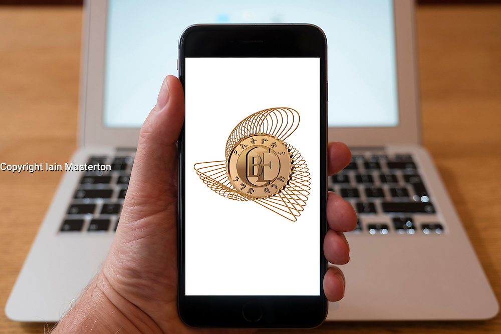 Using iPhone smart phone to display website logo of Commercial Bank of Ethiopia