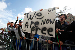 Members of the Libyan community in Malta protest against the Libyan government's crackdown on demonstrators in Libya outside the Libyan Embassy in Attard, outside Valletta, February 21, 2011..Photo by Darrin Zammit Lupi