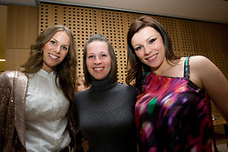 Tamara, girlfriend of Miso Brecko, Manca, girlfriend of Zlatan Ljubijankic and Melisa Mulalic, wife of Zlatko Dedic at official presentation of Slovenian National Football team for World Cup 2010 South Africa, on May 21, 2010 in Congress Center Brdo at Kranj, Slovenia. (Photo by Vid Ponikvar / Sportida)