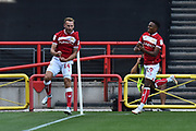 Goal - Andreas Weimann (14) of Bristol City celebrates scoring a goal to give a 1-0 lead to the home team during the EFL Sky Bet Championship match between Bristol City and Nottingham Forest at Ashton Gate, Bristol, England on 4 August 2018. Picture by Graham Hunt.