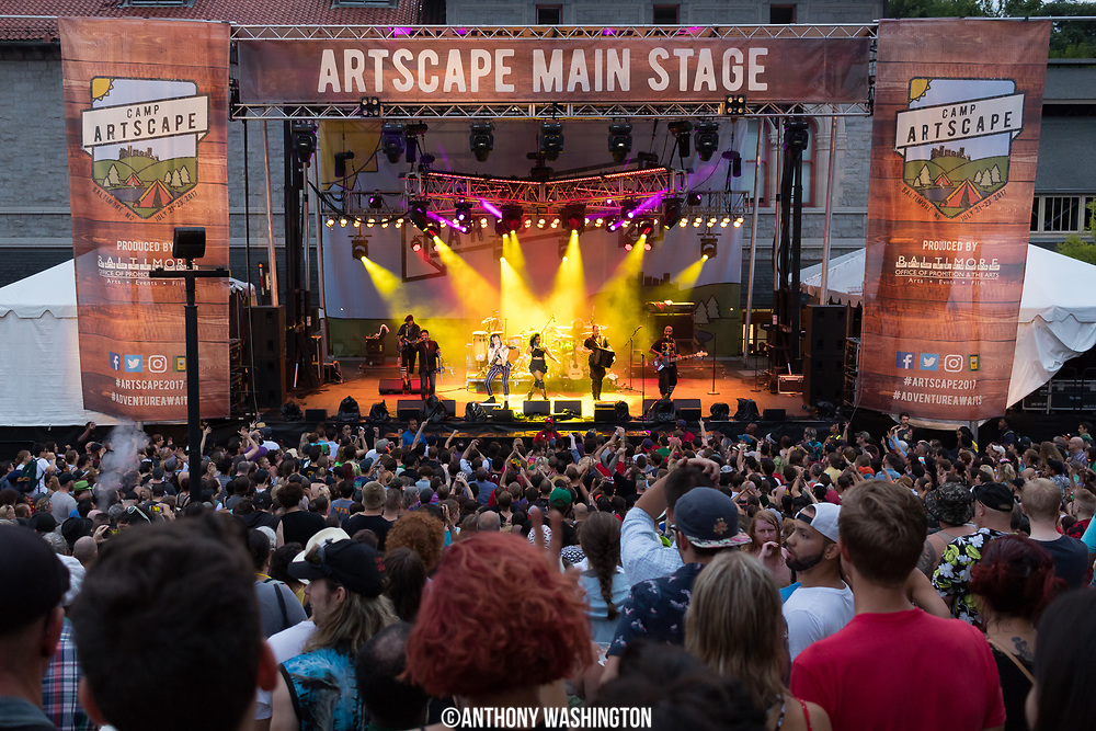Gogol Bordello performing on the Main Stage at Artscape, America's Largest Free Arts Festival, on Sunday, July 23, 2017 in Baltimore, MD.