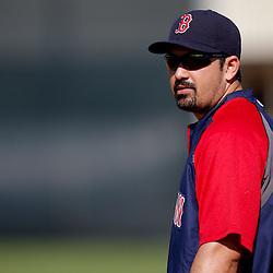 February 23, 2011; Fort Myers, FL, USA; Boston Red Sox first baseman Adrian Gonzalez (28) during spring training at the Player Development Complex.  Mandatory Credit: Derick E. Hingle