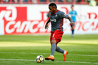 MOSCOW, RUSSIA - MAY 05: Jefferson Farfan of FC Lokomotiv Moscow in action during the Russian Football League match between FC Lokomotiv Moscow and FC Zenit Saint Petersburg at RZD Arena on May 5, 2018 in Moscow, Russia.