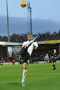 Jordan Bowery of Bradford City kicks a high ball during the Sky Bet League 1 match between Scunthorpe United and Bradford City at Glanford Park, Scunthorpe, England on 21 November 2015. Photo by Ian Lyall.