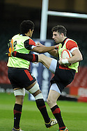 Toby Faletau (l) and Alex Cuthbert ® in action. Wales rugby team training at the Millennium stadium,  Cardiff in South Wales on Thursday 15th November 2012.  pic by Andrew Orchard, Andrew Orchard sports photography,