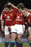 Lions front row (L-R) Julian White, Shane Byrne and Gethin Jenkins prepare to pack down during the first test between the All Blacks and the British and Irish Lions at Jade Stadium, Christchurch, New Zealand, on Saturday 25 June, 2005. The All Blacks won the match 21-3. Photo: Fotosport/PHOTOSPORT. **NZ USE ONLY**<br />