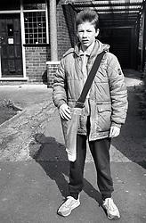 Teenage boy doing a paperround Nottingham UK 1989