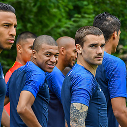 Corentin Tolisso, Kylian Mbappe and Antoine Griezmann during the official french football team picture in Clairefontaine on May 30, 2018 in Paris, France. (Photo by Aude Alcover/Icon Sport)