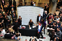 Fans in queue for Jessica Ennis book signing at Waterstones, Canary Wharf, London, UK, November 9, 2012. Photo by Nils Jorgensen / i-Images.