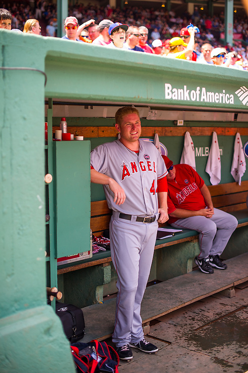BOSTON, MA - JUNE 09: Mark Trumbo #44 of the Los Angeles Angels looks on during the game against the Boston Red Sox at Fenway Park in Boston, Massachusetts on June 9, 2013. (Photo by Rob Tringali) *** Local Caption *** Mark Trumbo