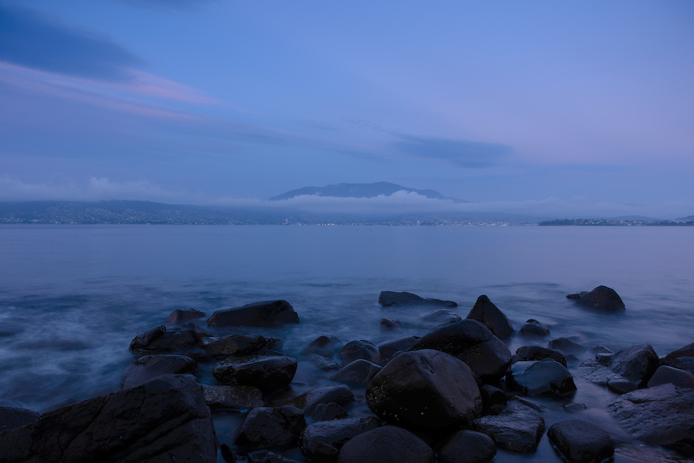 Hobart city at dawn with Mount Wellington in background from Bellerive