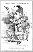 Robert Browning (1812-1889) English poet. Cartoon by Edward Linley Sambourne in the Fancy Portraits series from 'Punch', London, 22 July 1882. The legend refers to Browning's 21,000 line blank verse poem 'The Ring and the Book' published 1868-1869. Engraving.