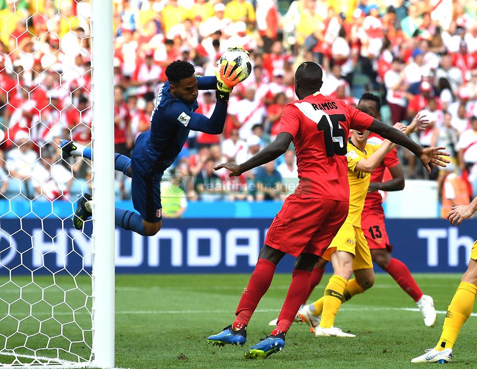 4e69d77d2f2747 SOCHI, June 26, 2018 Goalkeeper Pedro Gallese (L) of Peru defends during.