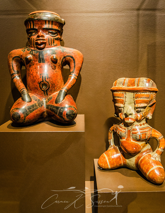 Ceramic Costa Rican female effigies, both powerful shamans, are displayed at the Michael C. Carlos Museum at Emory University, July 8, 2014, in Atlanta, Georgia. The museum was founded in 1876 and contains more than 17,000 artifacts in its permanent collections. (Photo by Carmen K. Sisson/Cloudybright)