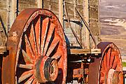 Wagon wheels at the Harmony Borax Works, Death Valley National Park. California
