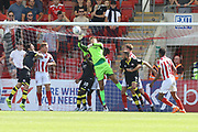 Scott Flinders makes a save during the EFL Sky Bet League 2 match between Cheltenham Town and Crawley Town at LCI Rail Stadium, Cheltenham, England on 4 August 2018. Picture by Antony Thompson.