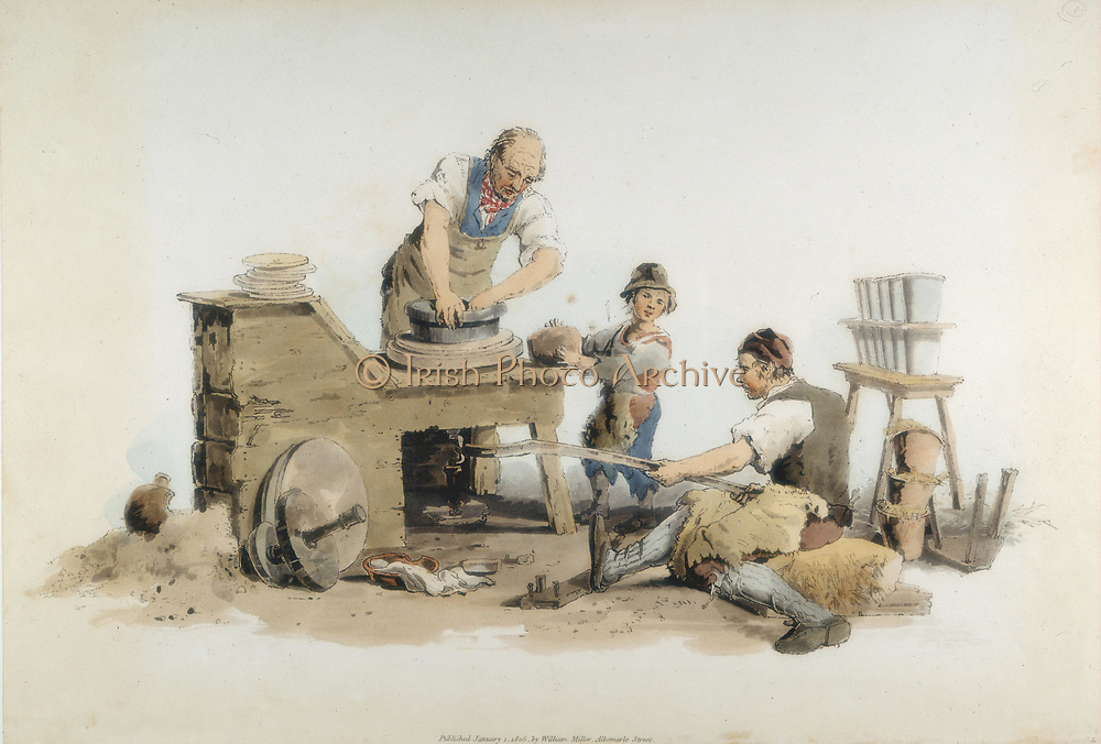 Making flower pots: wheel turned by assistant using crank: small boy supplying potter with lumps of clay. From William Henry Pyne 'Costume of Great Britain', London, 1808.