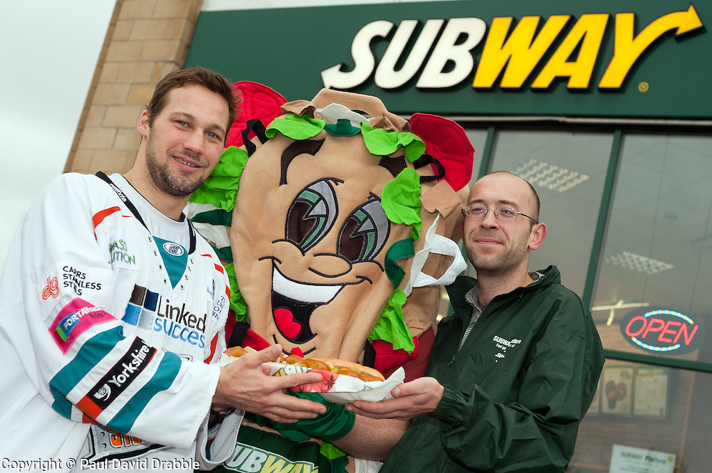 "Staff at the Centertainment branch of Subway  and Sheffield Steelers Ben Simon with Subman and one of the ""Healthier Way"" range of Subs.26  October 2010 .Images © Paul David Drabble"